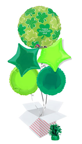 Happy St. Patrick's Day Playful Shamrock Balloon Bouquet - 5 Inflated Balloons In A Box Product Image