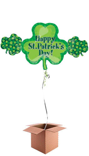 Happy St Patricks Day Shamrock Trio Helium Foil Giant Balloon - Inflated Balloon in a Box