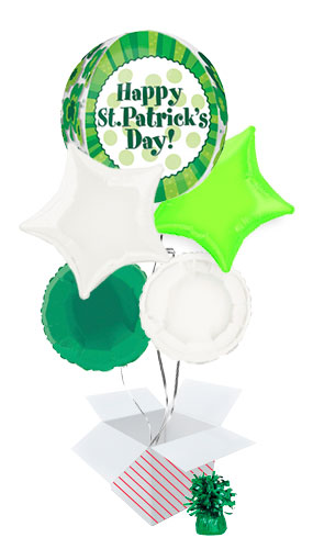 Happy St. Patrick's Day Orbz Balloon Bouquet - 5 Inflated Balloons In A Box Product Image