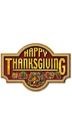 Happy Thanksgiving Sign Cutout - 17.5 Inches / 34cm Product Image
