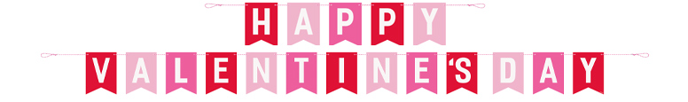 Happy Valentine's Day Cardboard Pennant Banner 3m Product Image