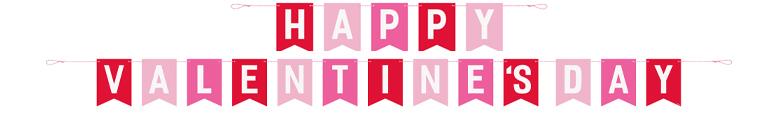 Happy Valentine's Day Cardboard Pennant Banner 3m