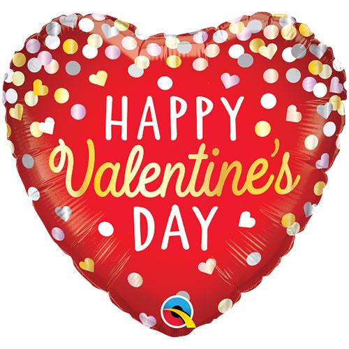 Happy Valentine's Day Confetti Foil Helium Qualatex Balloon 46cm / 18 in Product Image