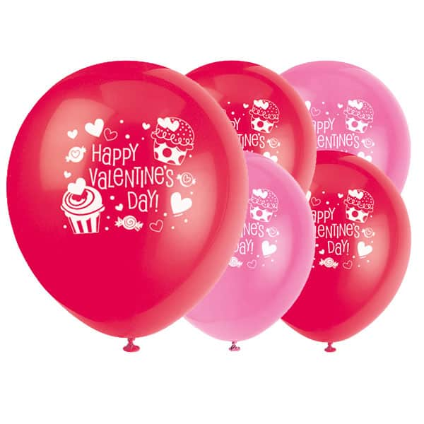 Happy Valentines Day Cupcake Biodegradable Latex Balloons - 12 Inches / 30cm - Pack of 8 Product Image