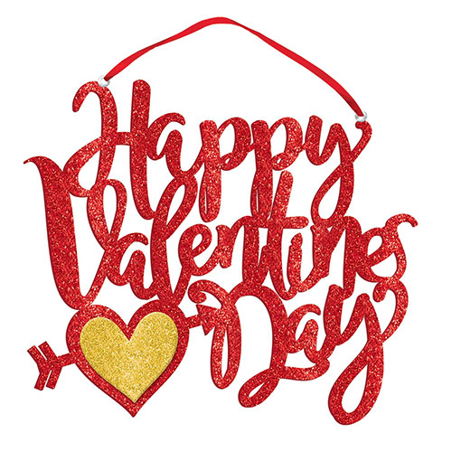 Happy Valentines Day Glitter Foam Sign Hanging Decoration 29cm Product Image