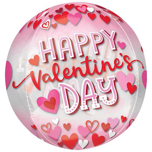 Happy Valentine's Day Hearts Orbz Foil Helium Balloon 38cm / 15 in