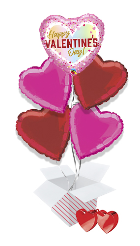 Happy Valentine's Day Ombre Balloon Bouquet - 5 Inflated Balloons In A Box