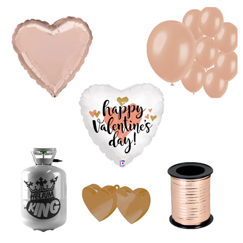 Happy Valentine's Day Rose Gold Small Helium Gas Package With Balloons