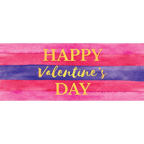 Happy Valentine's Day Watercolour PVC Party Sign Decoration 60cm x 25cm