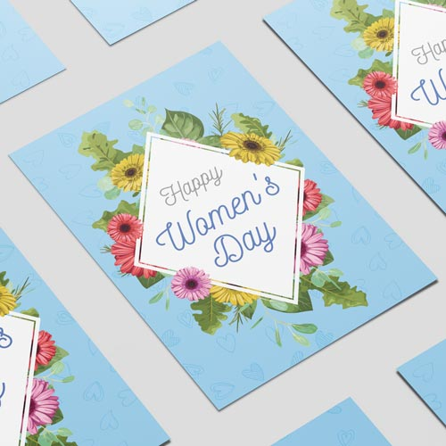 Happy Women's Day Colourful Flowers A3 Poster PVC Party Sign Decoration 42cm x 30cm Product Image