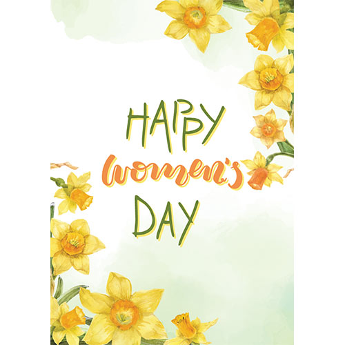Happy Women's Day Daffodils A3 Poster PVC Party Sign Decoration 42cm x 30cm Product Gallery Image
