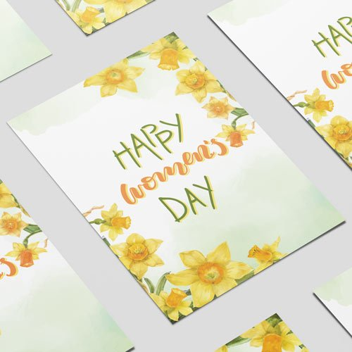 Happy Women's Day Daffodils A3 Poster PVC Party Sign Decoration 42cm x 30cm Product Image