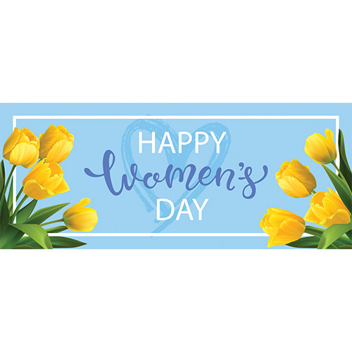 Happy Women's Day Tulips PVC Party Sign Decoration 60cm x 25cm Product Image