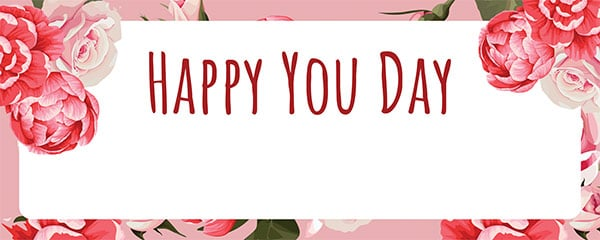 Happy You Day Peony Design Small Personalised Banner – 4ft x 2ft