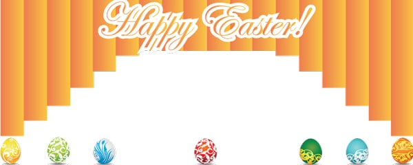 Happy Easter Curtain Design Medium Personalised Banner - 6ft x 2.25ft