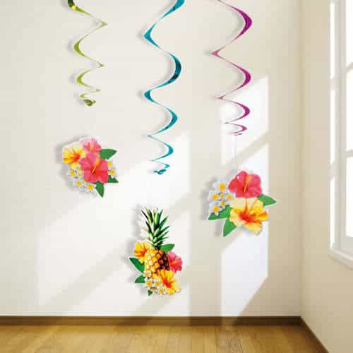 Hawaii Paradise Hanging Swirl Decorations - Pack of 3
