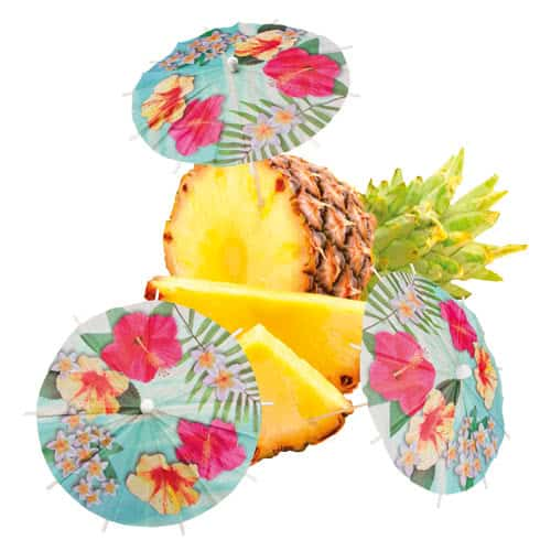 Hawaii Paradise Paper Cocktail Umbrella Picks 18cm - Pack of 6 Product Image
