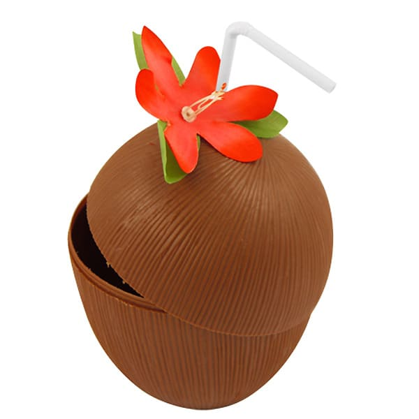 Hawaiian Coconut Cup with Flower and Drinking Straw