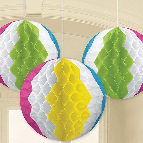 Hawaiian Honeycomb Beach Ball Hanging Decorations 17cm - Pack of 3