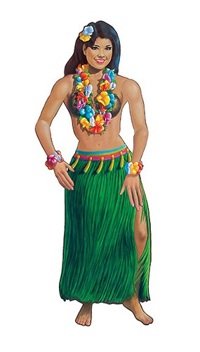 Hawaiian Hula Girl Dancer Jointed Decorative Cutout - 54 Inches / 137cm