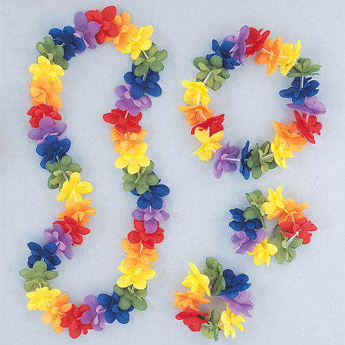 Hawaiian Rainbow Flower Lei Assortment Fancy Dress Set Product Image