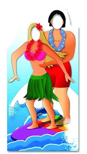Hawaiian Surfing Couple Stand In Cardboard Cutout - 188cm
