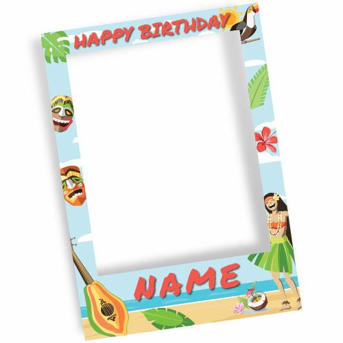 Hawaiian Tiki Party Happy Birthday Personalised Selfie Frame Photo Prop