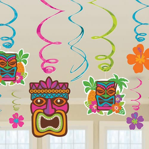 Hawaiian Tiki Swirl Decoration Pack Of 12