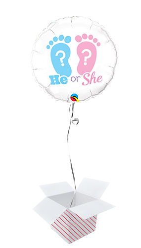 He Or She Footprints Gender Reveal Round Foil Helium Qualatex Balloon - Inflated Balloon in a Box Product Image