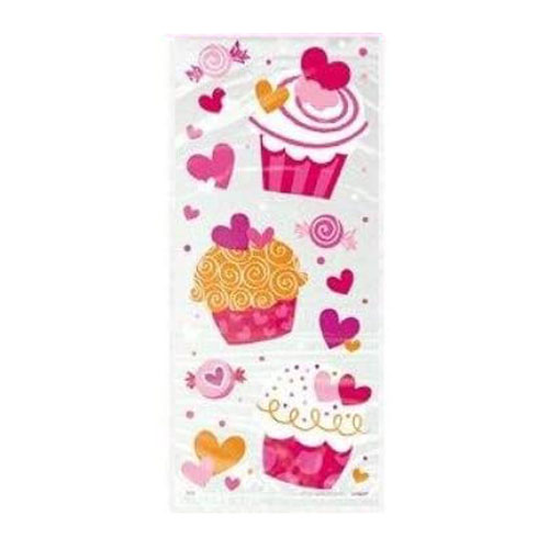 Heart Cupcakes Cello Gift Bags With Twist Ties - Pack of 20