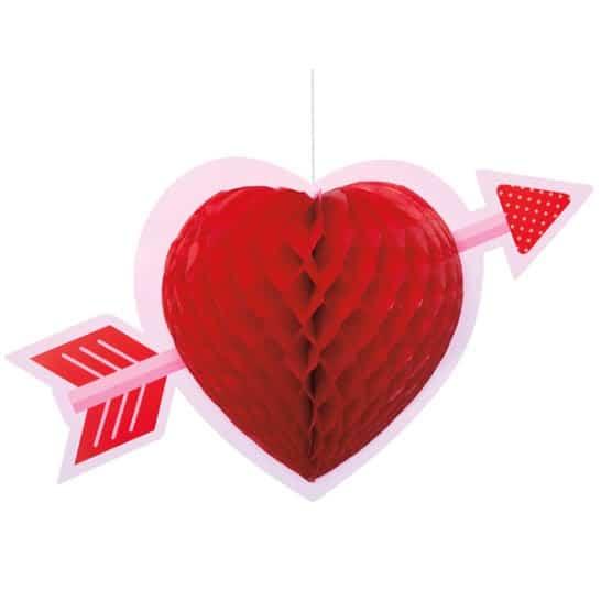 Heart Honeycomb Hanging Decoration - 35cm -Single