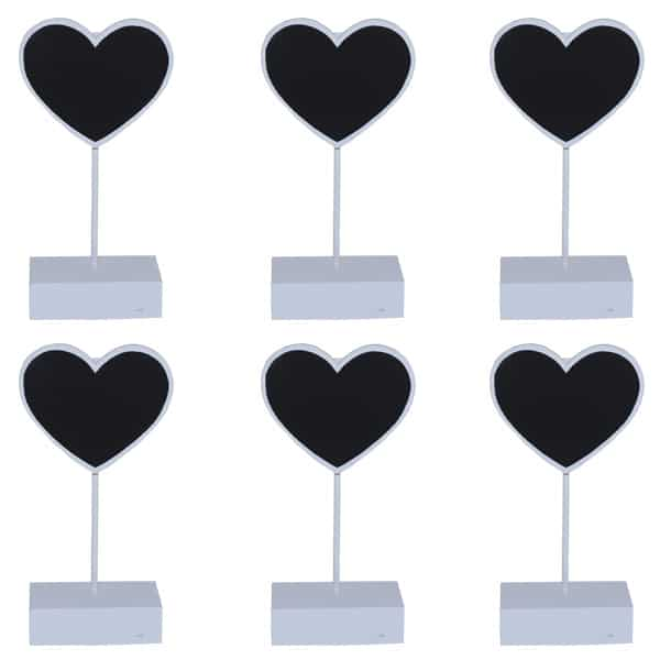 Heart Place Card Holder Chalk Board in White - Pack of 6