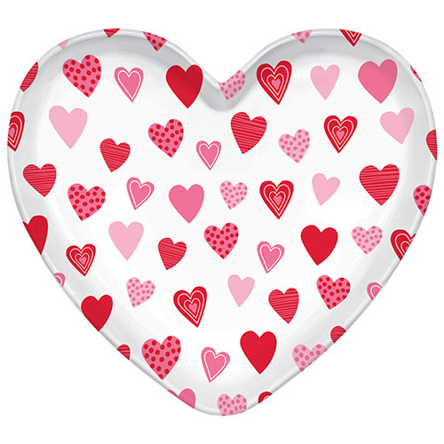 Valentines Heart Shaped Plastic Tray 39cm