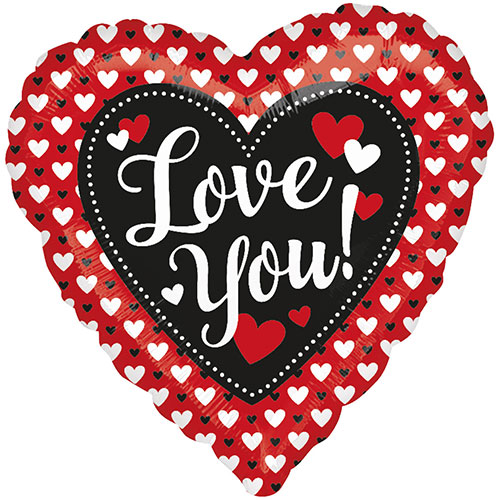 Heart To Heart Love You Valentines Day Foil Helium Balloon 43cm / 17Inch