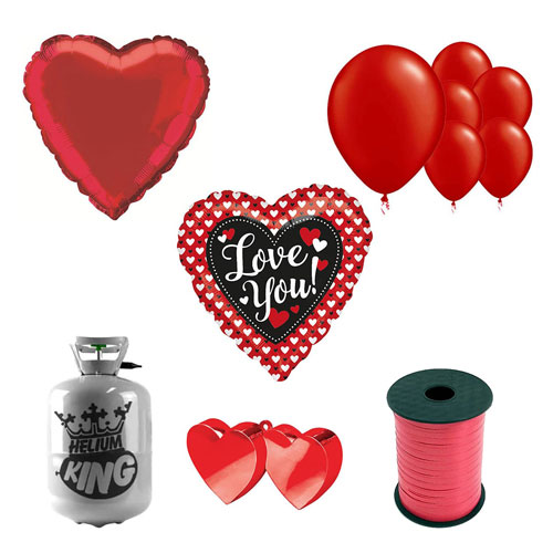 Heart To Heart Love You Valentine's Day Small Helium Gas Package With Balloons