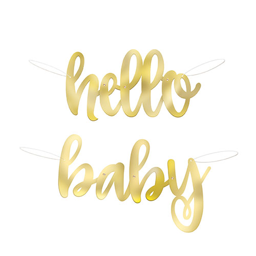 Hello Baby Gold Foil Cardboard Letter Banners 106cm