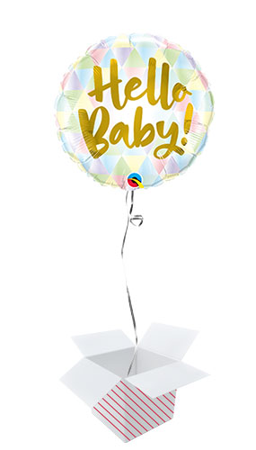 Hello Baby Pastel Round Foil Helium Qualatex Balloon - Inflated Balloon in a Box Product Image