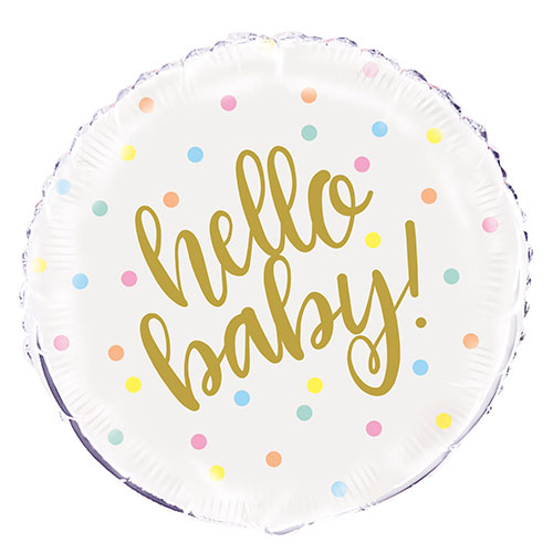 Hello Baby Round Foil Helium Balloon 46cm / 18 Inch Product Image