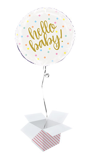 Hello Baby Round Foil Helium Balloon - Inflated Balloon in a Box Product Image