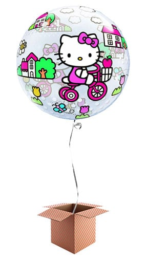 Hello Kitty Bubble Helium Qualatex Balloon - Inflated Balloon in a Box Product Image