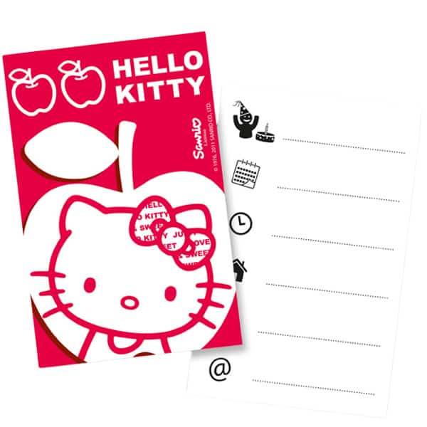 Hello Kitty Apple Theme Invitations with Envelopes - Pack of 6