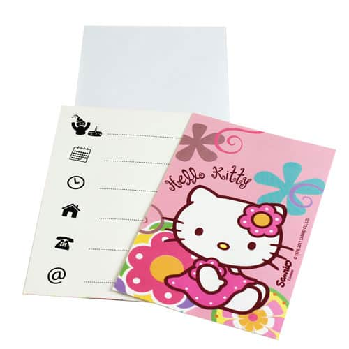 Hello Kitty Bamboo Invitations With Envelopes Pack Of 6