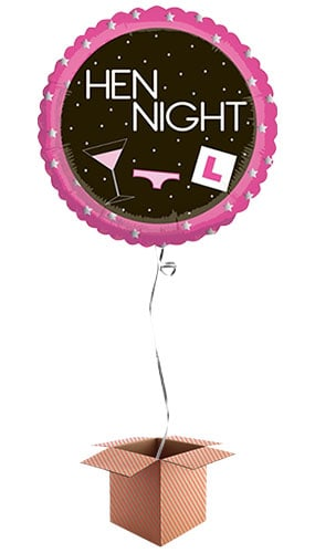 Hen Night Round Foil Balloon - Inflated Balloon in a Box