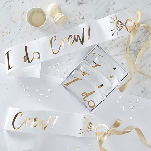 Hen Night 'I Do Crew' Gold Foiled Paper Sashes 75cm - Pack of 6