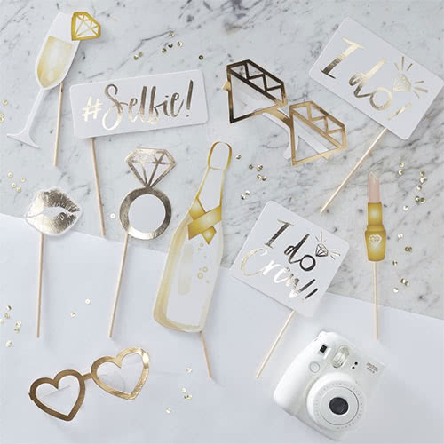 Hen Night 'I Do Crew' Gold Foiled Photo Booth Props - Pack of 10