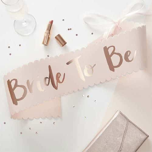 Hen Party Bride To Be Rose Gold Foiled Paper Sash