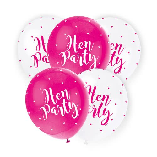 Assorted Hen Party Print Pearlised Biodegradable Latex Helium Balloons 30cm / 12Inch - Pack of 5 Product Image
