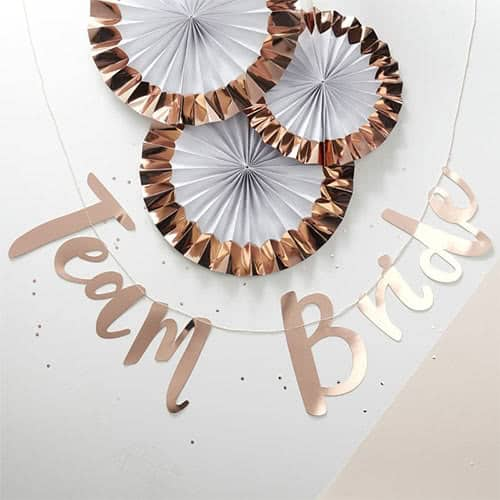 Hen Party Team Bride Rose Gold Foil Letter Bunting 150cm