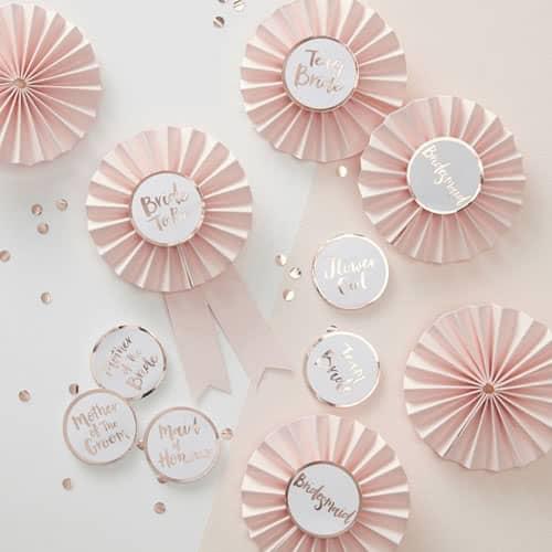Hen Party Team Bride Rose Gold Foiled Badges - Pack of 6