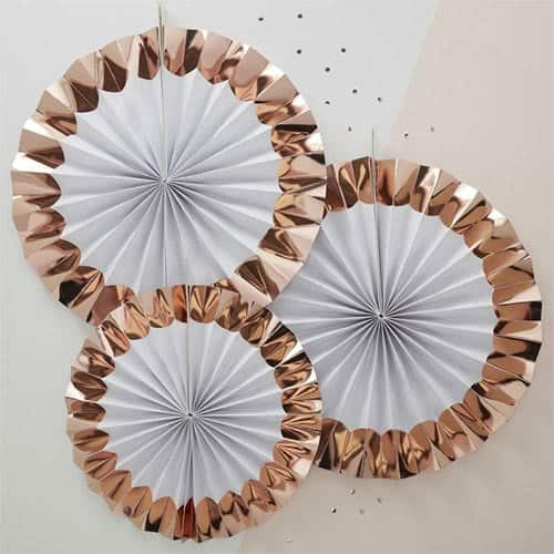 Hen Party Team Bride Rose Gold Foiled Fan Decorations - Pack of 3